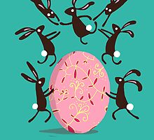 ACROBATIC EASTER BUNNIES, EMERALD by Jane Newland