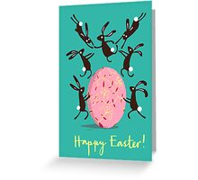 ACROBATIC EASTER BUNNIES, EMERALD Greeting Card