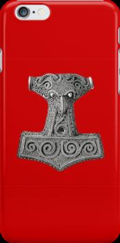 Thor's Hammer on Red Iphone Case by Huginnandmuninn