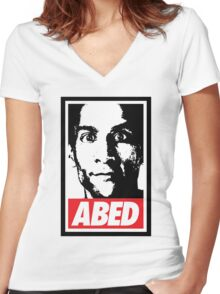 OBEY ABED, COOL? Women's Fitted V-Neck T-Shirt