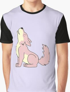 Light Pink Howling Wolf Pup Graphic T-Shirt