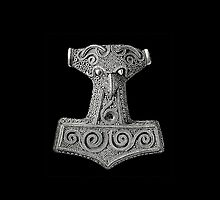 Thor's Hammer on Black Iphone Case by Huginnandmuninn