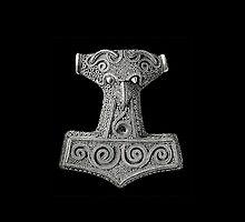 Thor's Hammer on Black Iphone Case by Huginnandmuninn