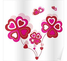Hearts Flowers Poster