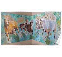 Corner Running Horses Poster