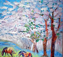 Spring and Horses 2 by vtarcau