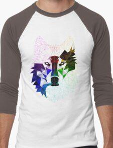 Geometric Wolf Men's Baseball ¾ T-Shirt