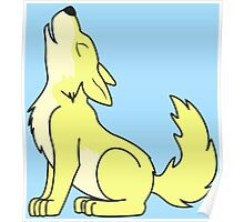 Light Yellow Howling Wolf Pup Poster