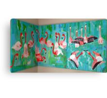 Triptich Corner  Flamingos Canvas Print
