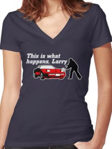 This Is What Happens, Larry (Alternate Version) Women's Fitted V-Neck T-Shirt