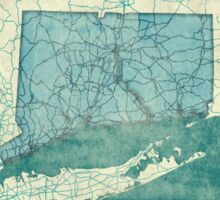 Connecticut Map Blue Vintage Sticker