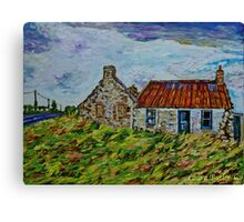 Ruined cottages on the Ballinlea Road, Stranocum, County Antrim, Oil and Acrylic on Canvas, 10 x 14 ins Canvas Print