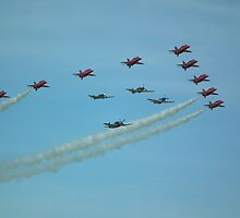 The Red Arrows with Eagle Squadron  by mike  jordan.