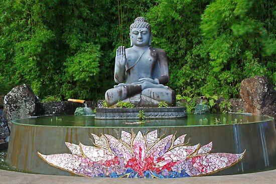 Buddha and lotus pond by SharronS