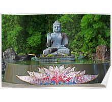 Buddha and lotus pond Poster