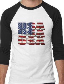 USA USA USA 4th July Men's Baseball ¾ T-Shirt
