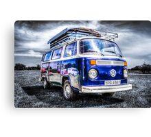 Blue VW campervan  Canvas Print