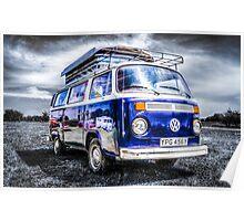 Blue VW campervan  Poster