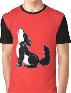 Black & White Howling Wolf Pup Graphic T-Shirt