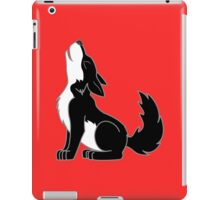 Black & White Howling Wolf Pup iPad Case/Skin