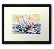 Fight At The Mark - Folkboats Tacking Framed Print