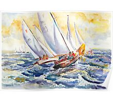 Fight At The Mark - Folkboats Tacking Poster