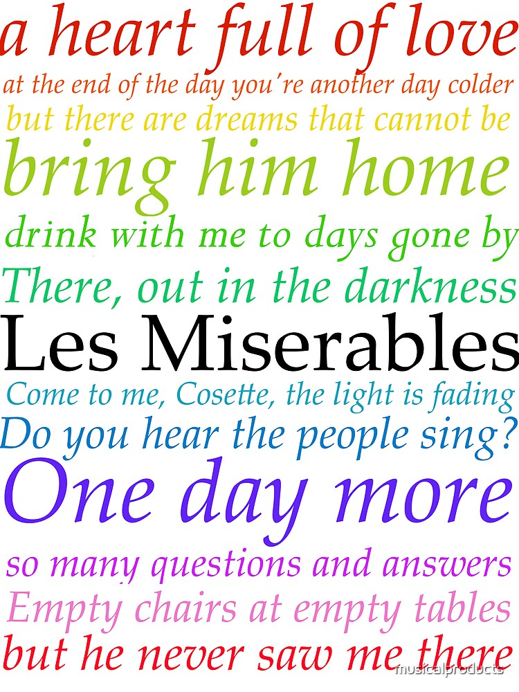 Les Miserables Lyric Design by musicalproducts