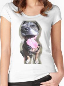 Crazy Dog Tounge Face Women's Fitted Scoop T-Shirt