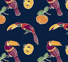 Two toucan and persimmon ornament by OlgaBerlet