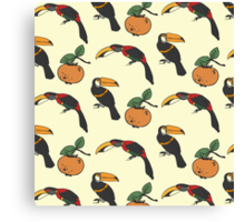 Two toucan and persimmon ornament Canvas Print