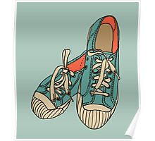 colored pattern gym shoes Poster