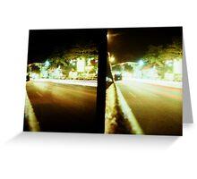 Late Night Tail Lights - Lomo Greeting Card