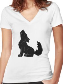 Black Howling Wolf Pup Women's Fitted V-Neck T-Shirt