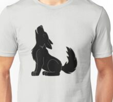 Black Howling Wolf Pup Unisex T-Shirt
