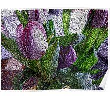 Flowers in van Gogh art Poster