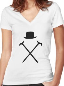 Bowler Hat and Canes T Shirt Women's Fitted V-Neck T-Shirt