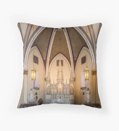 Loretto Chapel on Route 66, Santa Fe, NM Throw Pillow