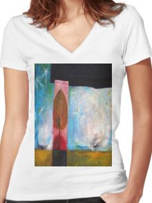 Night Comes Women's Fitted V-Neck T-Shirt