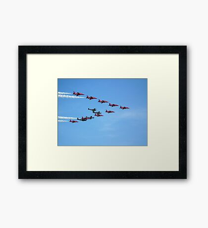 Red Arrows and The Eagle Squadron in formation.... Framed Print