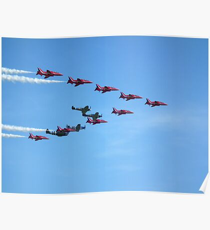Red Arrows and The Eagle Squadron in formation.... Poster