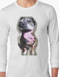 Crazy Dog Tounge Face (with text) Long Sleeve T-Shirt