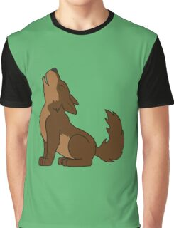 Brown Howling Wolf Pup Graphic T-Shirt