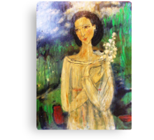 lady in a field Canvas Print