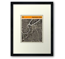 KANSAS CITY MAP Framed Print