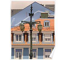 lisbon street lamps. Praça Duque da Terceira. Poster