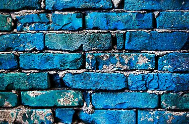 Blue Brick Wall by Cristian Radu Tanta