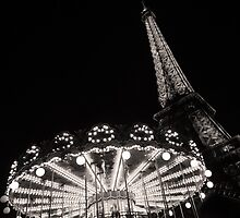 Black and White Carrousel and Eiffel Tower by Heidi Hermes