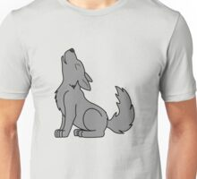 Solid Gray Howling Wolf Pup Unisex T-Shirt