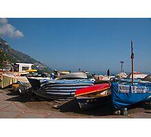 Italy - boats in Positano Photographic Print