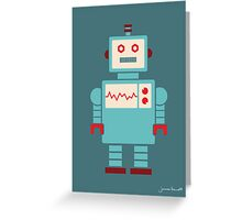 Robot graphic (Blue on blue) Greeting Card